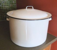 Vintage Enamel Stock Pot with Lid White with Black Trim by BornAtTheWrongTime