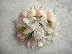 Vintage 1950's millinery flower pale pink silk and rhinestone floral medallion