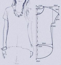 """vamos combinar: MOLDE BLUSA MULLET """"Smooth sleeve hi/low tshirt"""", """"check out my website for more . Tunic Sewing Patterns, Sewing Blouses, Clothing Patterns, Dress Patterns, Shirt Patterns, Tunic Pattern, Sewing Stitches, Coat Patterns, Fashion Sewing"""