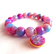 HONESTY BRACELET Cracked purple and hotpink agate by ExaltCouture, $32.00