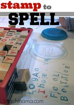This fun idea for kids is one of my favorite learning activities! Use stamps for early literacy learning and spelling. It's a great fun way to teach kids how to spell! And what kid doesn't love a fun activity where they can use stamps and an ink pad! #teachmama #alphabet #earlyliteracy #spelling #teachinghelps #stamps #learning #teachingspelling #education #funideasforkids #teachingtips