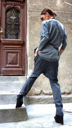 NEW Charcoal Drop Crotch Pants / Extravagant Grey by Aakasha
