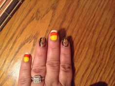 9/29/13 first attempt at owl/ candy corn fall nails