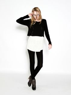 a cropped sweater, with a long tee and leggings!