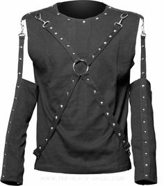 Gothic men's top with detachable sleeves and bondage straps, by Queen of Darkness.