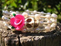 Day of the Dead Bracelet Sugar Skull Wrap Around Off White Mini Skull pink rose