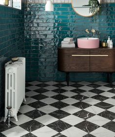What a beautiful teal blue tile. Especially with the black and white floor and s. What a beautiful teal blue tile. Especially with the black and white floor and splash of pink sink! Blue Bathroom, Small Bathroom, Teal Bathroom, Bathroom Flooring, Bathroom Tile Designs, Black Bathroom, Tile Bathroom, White Floors, Bathroom Interior Design