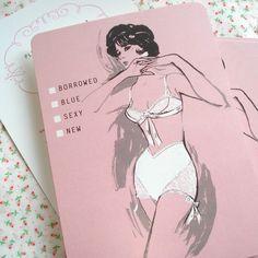 Lingerie Bridal Shower Invitation  60s Vintage by SelvedgeShop, $36.00