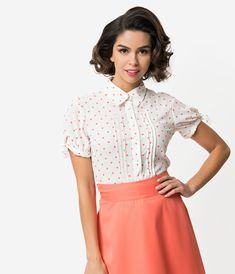 33d9d48ab95f6 Unique Vintage + Pantone White   Living Coral Polka Dot Button Up Colvin  Blouse Vintage Outfits