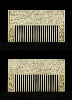 Ivory comb with courting scenes, Europe, 15th Century.