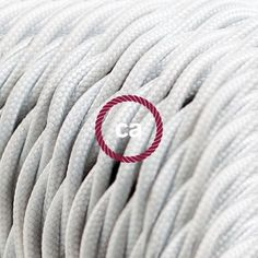 Twisted Electric Cable covered by Rayon solid color fabric TM01 White