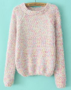 Pink Round Neck Long Sleeve Mohair Sweater EUR€22.90