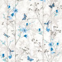 Muriva Eden Butterflies Wallpaper Blue (102552)
