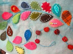 Uniquely embellished leaves by Sue Spargo: Bitterroot Quilters Guild - Hamilton, MT Fabric Art, Fabric Crafts, Sewing Crafts, Sewing Projects, Wool Embroidery, Embroidery Stitches, Embroidery Designs, Art Fil, Wool Quilts
