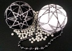 Japanese #temari, modern home decor, black and white, ying and yang by MonaSaadHandmade on Etsy