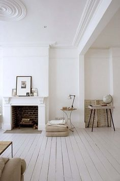 white wooden floors / mantel fireplace / details / decor / scandinavian rustic vintage / decorating before and after house design room design White Rooms, White Walls, White Bedroom, White Wooden Floor, Interior Architecture, Interior Design, Interior Ideas, Interior Inspiration, Brick Interior