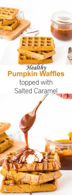 The perfect holiday breakfast or a dessert. A healthy waffle recipe, made with whole wheat flour, pumpkin and coconut oil. Delicious vegan alternatives are also given, including vegan salted caramel and vegan coconut whipped cream.