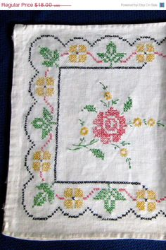 Christmas In July Long Embroidered Dresser Scarf 1920s Linen 40 Inches Cross Stitch Roses Runner on Etsy, $14.40