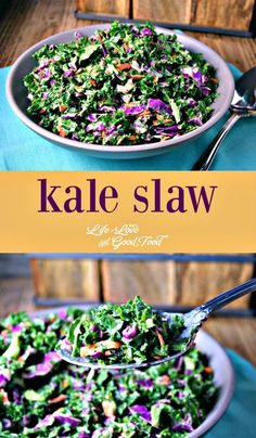 Kale Slaw - kale, purple cabbage, and carrots tossed with homemade poppy seed dressing is a healthy alternative to traditional cole slaw. Purple Cabbage Recipes, Purple Cabbage Slaw, Cabbage Salad, Purple Kale, Slaw Recipes, Healthy Recipes, Vegetarian Recipes, Cooking Recipes, Vegetarian Lunch