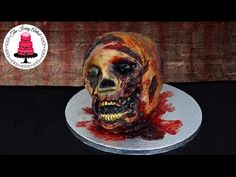 14: Walking Dead 3D Zombie Skull Cake - How To With The Icing Artist - YouTube