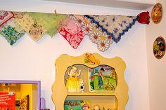 Hankie hung on vintage clothesline. I did this too