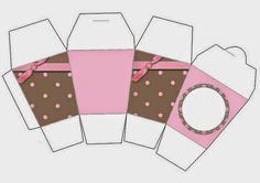Marrón y Rosa: Cajas para Imprimir Gratis.