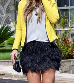 yellow jacket + black plumes