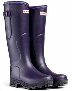 Hunter Balmoral Lady Neoprene Wellington Boots - Aubergine