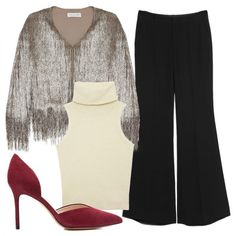 Office - Reimaginethe sparkly topper for work by teamingit with a sleek turtleneck knit and wide-leg trousers. Add on a pair of red suede pumps for a pop of color and professional polish.