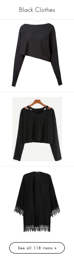 """""""Black Clothes"""" by carlou863 on Polyvore featuring tops, sweaters, shirts, crop tops, asymmetrical sweaters, boatneck sweater, boatneck shirt, anchor long sleeve shirts, long-sleeve shirt et t-shirts"""