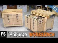 Modular sectional workbench with great storage capacity that can also be used as a mobile tool stand. Making A Workbench, Workbench Plans, Woodworking Workbench, Woodworking Furniture, Woodworking Shop, Woodworking Projects, Kid Furniture, Cardboard Furniture, Woodworking Techniques