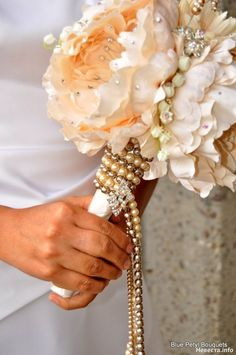 wedding bouquet - pearl wrapped handle