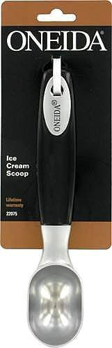Oneida Ice Cream Scoop by Oneida. $8.24. Imported. This ice cream scoop is made of quality material and is an essential tool to your kitchen. Ice cream scoop features a black handle with brushed stainless steel head and an ergonomic grip for easy handling.. Save 25% Off!