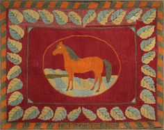 Sold $ 2,200 American hooked rug with a horse, inscribed E.H. Bittner 1896, 54'' x 68''.