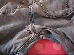 I have to try this!! So glad I kept all my old jeans with holes!! :)  Essential blue jean mending method--Tutorial