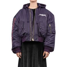 Vetements Embroidered Bomber (€2.150) ❤ liked on Polyvore featuring outerwear, jackets, purple, purple jacket, embroidered jacket, hooded bomber jacket, zipper jacket and flight jacket