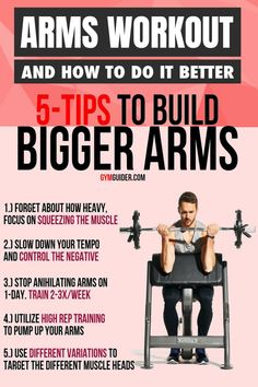 Weight training isn't as simple as lifting an object from A to B. The tempo with which you lift is integral to building bigger arms. Ensure you stick to a four-digit tempo code (detailed in our. Gym Workout Chart, Gym Workout Tips, Workout Exercises, Fitness Exercises, Workout Fitness, Biceps And Triceps, Biceps Workout, Forearm Workout, Weight Training Workouts