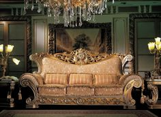 Classic Furniture Italian Hand Painted And Carved Living Room