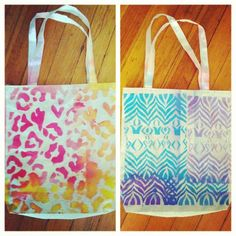 DIY: plain canvas tote, fabric spray paint, stencils. Possibilities are endless!