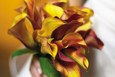 The warm reds, oranges and yellows of this calla lilies bouquet are perfect for a fall wedding.