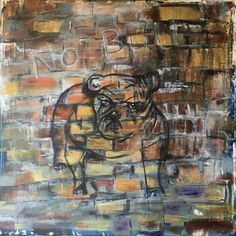 Old Brickwall with faded bull dog. Painting Digital, Brick Wall, Bull Dog, Fine Art, Whiskey, Dogs, Studio, Whisky, Pet Dogs