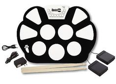 Electronic Roll Up Drum Kit with Power Supply Drum Sticks Foot Pedals Portable