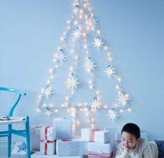 Christmas Tree Wall Deco Created w String Lights Wall Christmas Tree, Noel Christmas, Simple Christmas, Christmas Lights, Christmas Crafts, Christmas Decorations, White Christmas, Modern Christmas, Holiday Lights