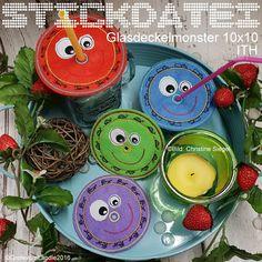 Stickmuster - Glasdeckel Monster 10x10 ith 6 Motive Stickdatei - ein Designerstück von GretevomLaendle bei DaWanda
