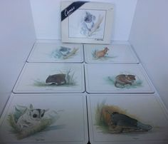 Lincoln Wakefield illustrations AUSTRALIAN ANIMALS table mats by Cameo set of 6 #Cameo
