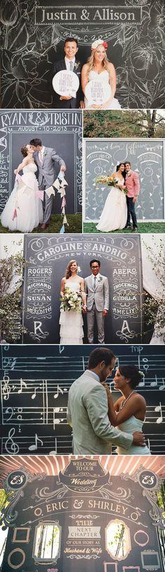 Guest DIY Chalkboard Wedding Backdrop / http://www.deerpearlflowers.com/53-super-creative-wedding-photo-backdrops/