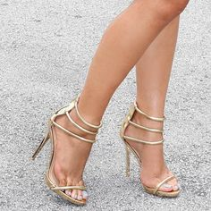 Gladly-28 Gold Metallic Triple Strap Single Sole Stiletto Heels