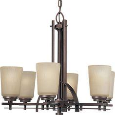 Progress Lighting Riverside 24-In 6-Light Heirloom Craftsman Etched Glass Shaded Chandelier P4213-88