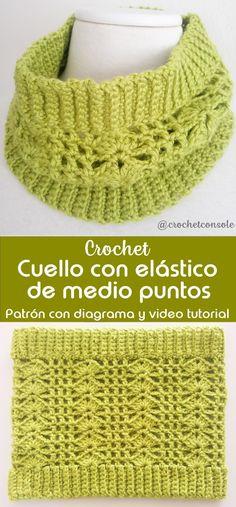 Cuello con elástico de medio puntos a crochet - Crochet con Sole Crochet Scarves, Crochet Shawl, Crochet Baby, Crochet Top, Crochet Neck Warmer, Crochet Videos, Crochet Flowers, Crochet Projects, Cowl