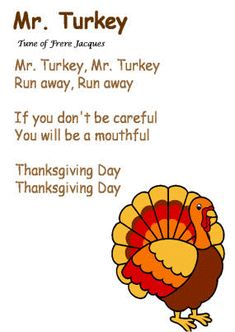 """Turkey"""" song (Tune of Frere Jacques)"""